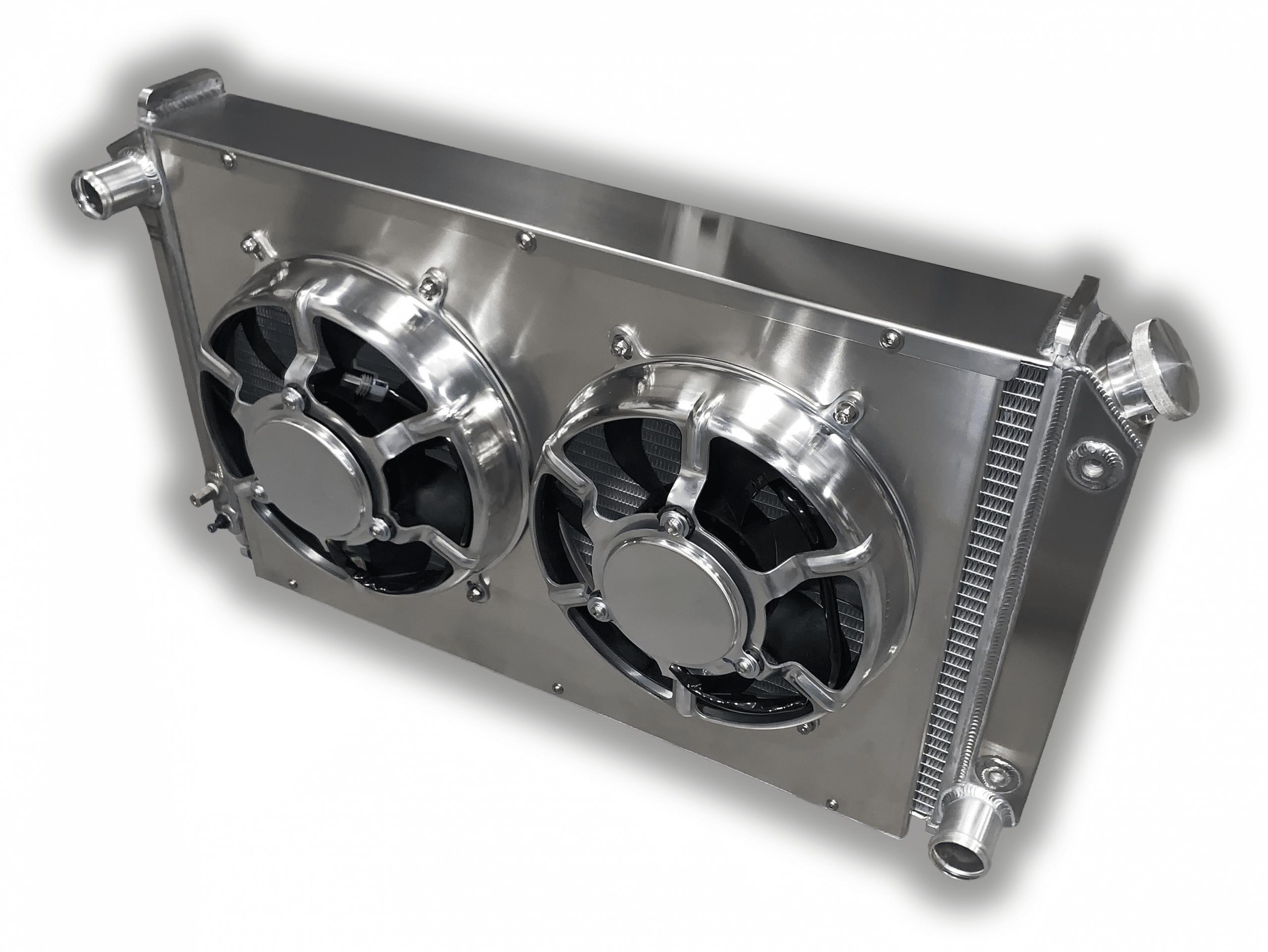 "67 68 69 70 71 72 Buick Skylark Aluminum Radiator Fan Shroud /& 2-14/"" Fans #161"